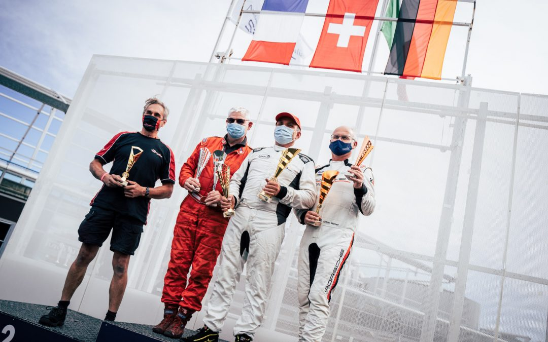 Kurt Böhlen celebrates victory in the first race of the Maxx Formula in Monza